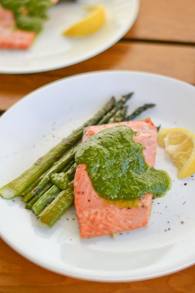 Baked Marinated Salmon Fillet with Basil Walnut Pesto | Recipe | Basil ...