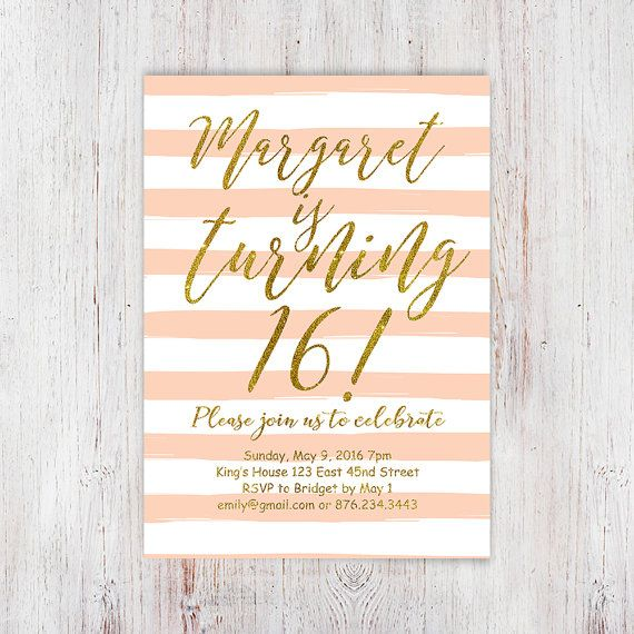 Coral stripes 16th birthday invitation for girl, peach gold glitter sweet sixteen birthday party invitation, chic modern teen birthday - 65