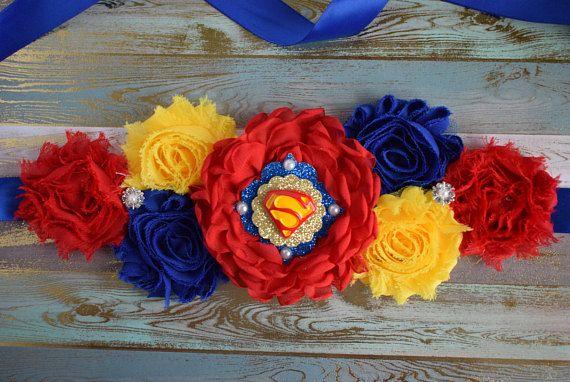 Red Blue White Hero Flower Sash Red Blue Flower Sash Custom Captain America Baby Shower Avenger Maternity Sash Superhero Baby Shower