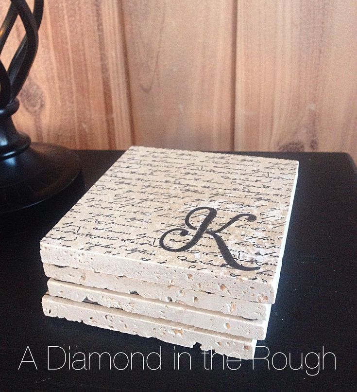 Personalized Script - Hand Stamped Stone Coasters/ French Country/ Modern Farmhouse / Rustic/ Elegant /Wedding Gift/ 4pc. Set