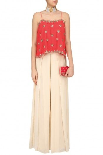 Arpita Mehta Red Cami Top and Beige Palazzo Pants Set #happyshopping #shopnow #ppus