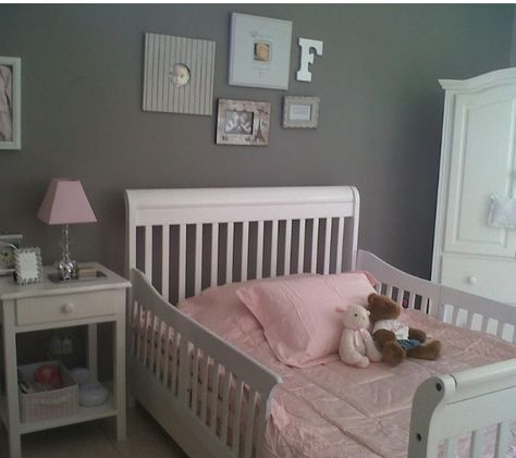Pink grey white toddler Girls room, Bed rails made from the sides of the crib