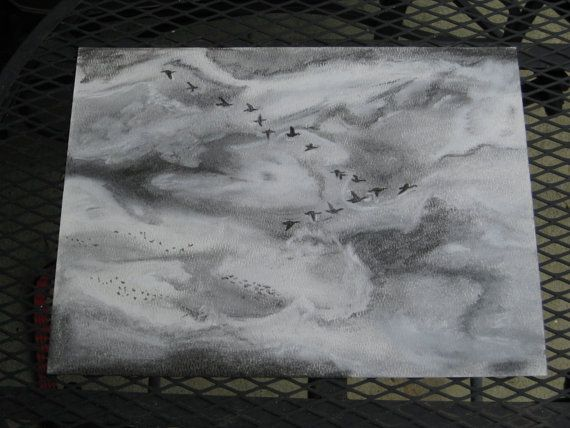 Duck Migration Charcoal Drawing by thatsfly on Etsy, $35.00