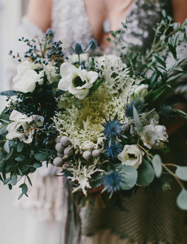 winter anemone bouquet with peacock kale. Winter Ocean wedding inspiration. Bouquet by Carolyn Snell. Photo by Emily Delamater http://emilydelamater.com/