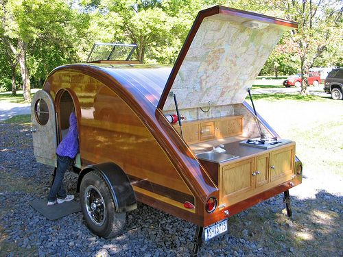 another woody: Teardrop Campers, Idea, Camping, Teardrop Trailers, Homemade Teardrop, Rv, Photo, Tear Drop, Tiny Camper