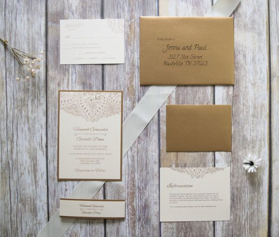 Champagne and Antique Gold Fancy Wedding Invitation