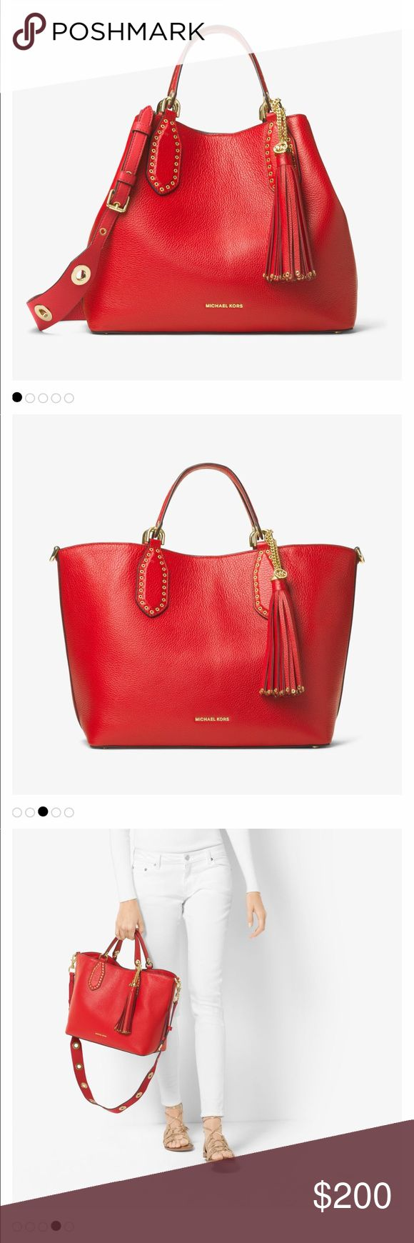 "Bright Red Michael Kors Brooklyn Bag Like new very gently used. Comes with all tags and dust bag. Still sold in stores for $500. • 100% Pebbled Leather  • Gold-Tone Hardware  • 17""W X 11""H X 5.5""D  • Handle Drop: 4.5""  • Adjustable Strap: 16.5""-20""  • Interior Details: Back Zip Pocket, 2 Back Slit Pockets, 6 Front Slit Pockets  • Lining: 100% Polyester  • Magnetic Snap Fastening  • Imported Michael Kors Bags"