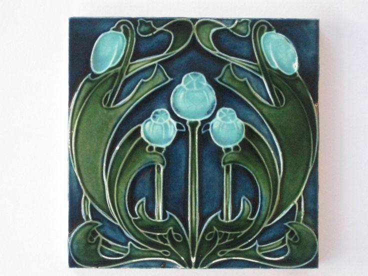 Sensational English Art Nouveau Tile Lea & Boulton c1907 poppies ceramic pottery