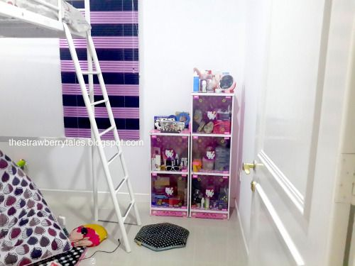 Hello kitty cabinets, loft bed, bean bag chair, white and pink stuffs | The Strawberry Tales