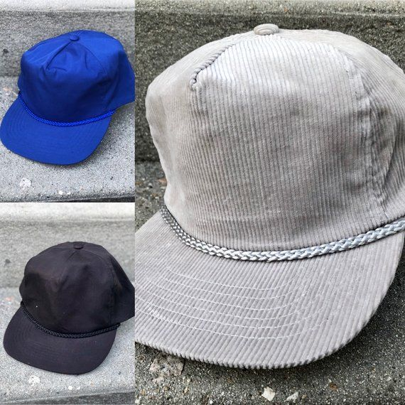3c113852a3743 80s Deadstock Blank Hats - New Never Worn - Strapback, Five Panel w/  Rope/Cord Across Brim - True Vintage 1980s Hats - Gray, Black, and Blue