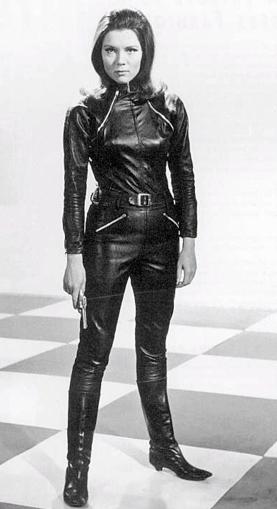 Diana Rigg (Emma Peel) of 1960s TV Series:  The Avengers. Get it? M appeal? Took me about 40 years, and someone had to tell me.