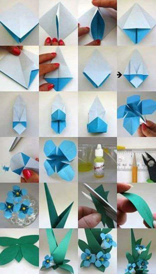 будва незабудка оригами из цветной бумаги пошагово его словам