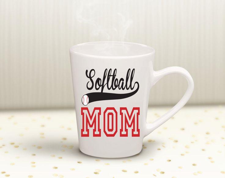 Softball mom vinyl decal 12 oz coffee mug mom life cup