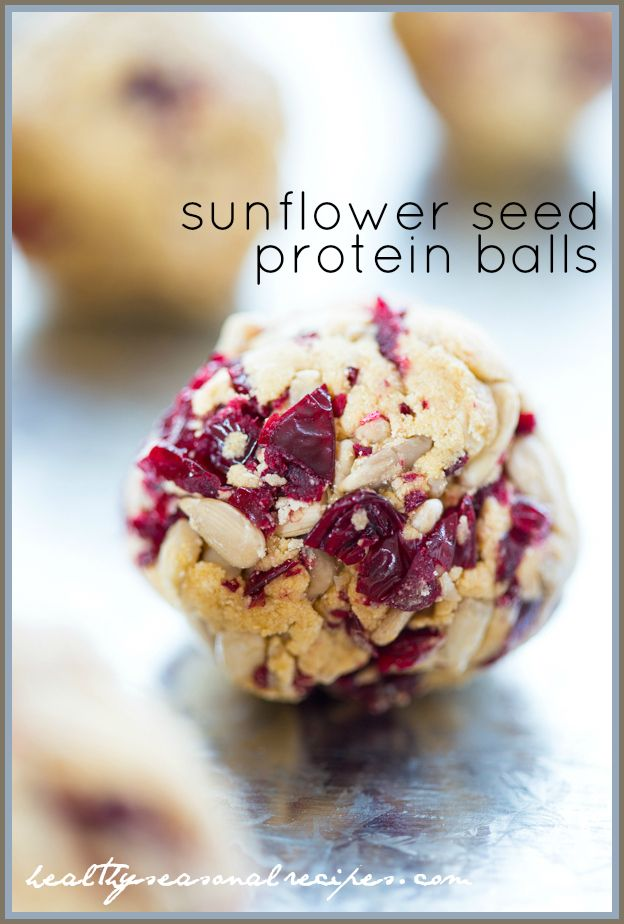 Nut free Gluten Free Protein Balls with Sunflower Seeds, Bananas and Cranberries | via @Healthy Seasonal Recipes | Katie Webster
