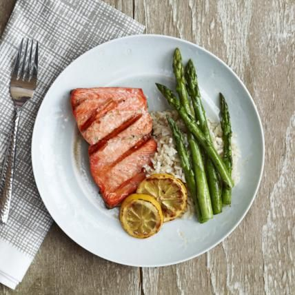 What I Eat in an Average Day: From Lea Michele's Brunette Ambition - Dinner: Salmon and Asparagus from #InStyle