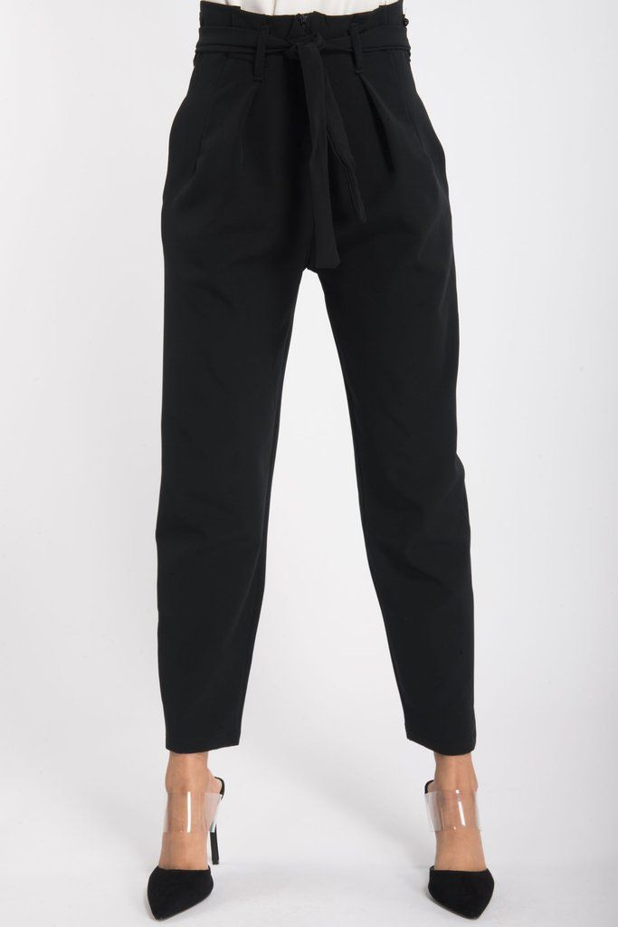 8e15cd251 Black High Waisted Tie Waist Cigarette Trousers Our black trousers feature  a high waist, cigarette fit with waist belt tie and zip up front.
