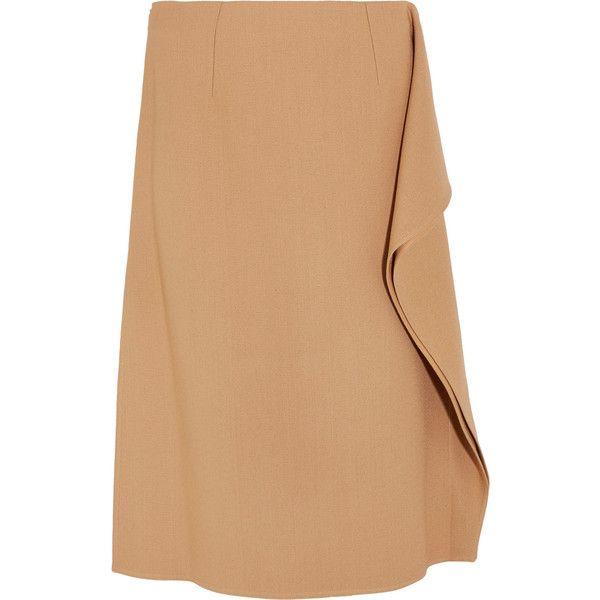 Marni Ruffle-trimmed crepe midi skirt (€665) ❤ liked on Polyvore featuring skirts, calf length skirts, beige skirt, camel skirt, knee length a line skirt and floral midi skirt