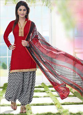 Red Hina Khan Patiala Suit