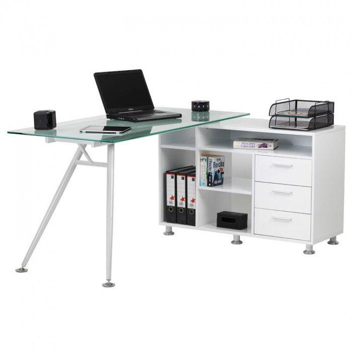 Image of the Alphason Augusta White Glass Corner Desk (AW13366A-CL)