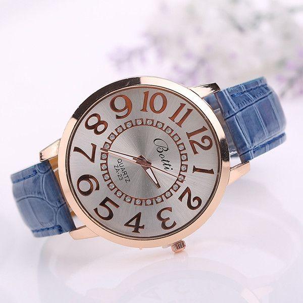 Fashion Big Number Rhinestones Dial Ladies Watch Casual Women PU Leather Analog Quartz Watch