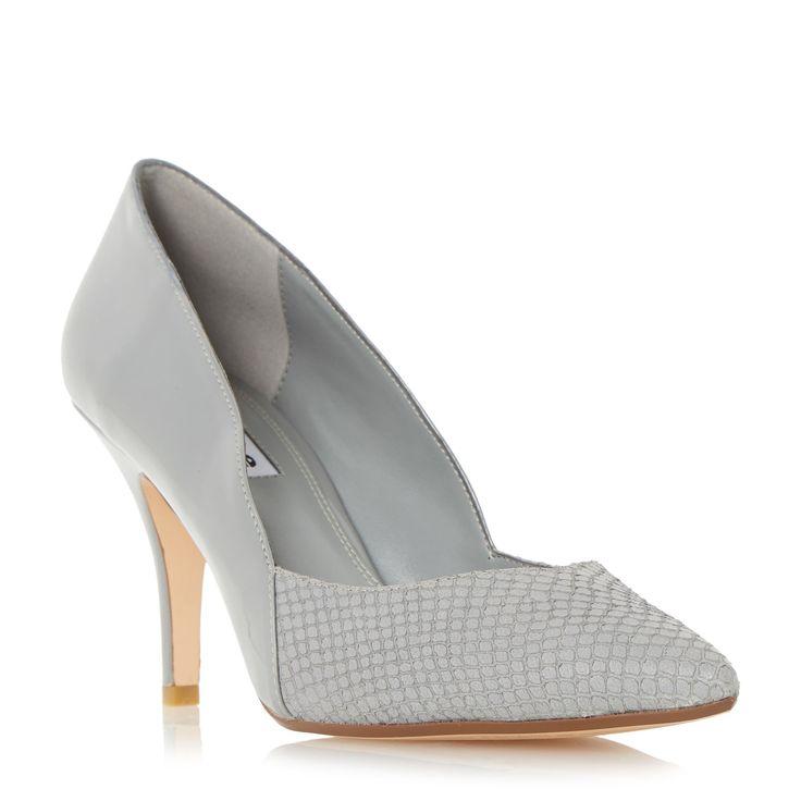 Dune Alyvia mid heel sweetheart court shoes, Grey