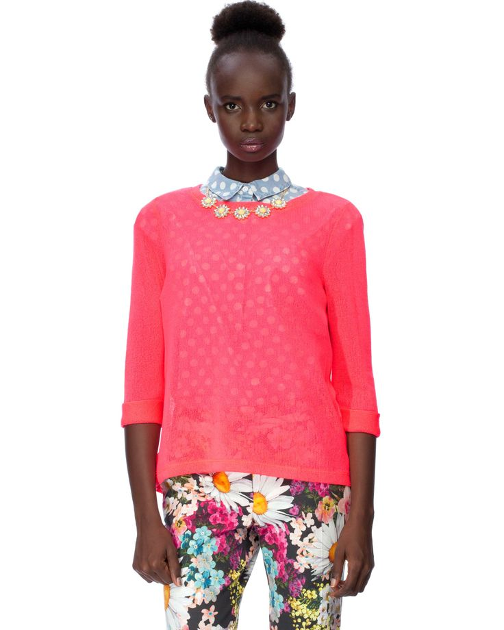 Fine Knit Vent Back Top in Neon Pink by River Island | THE ICONIC