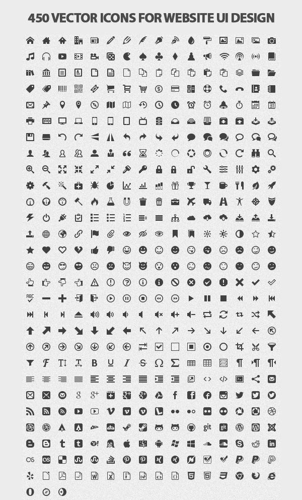 450 Vector Icons For Website UI Design #ui #icon #vector #design #website #web