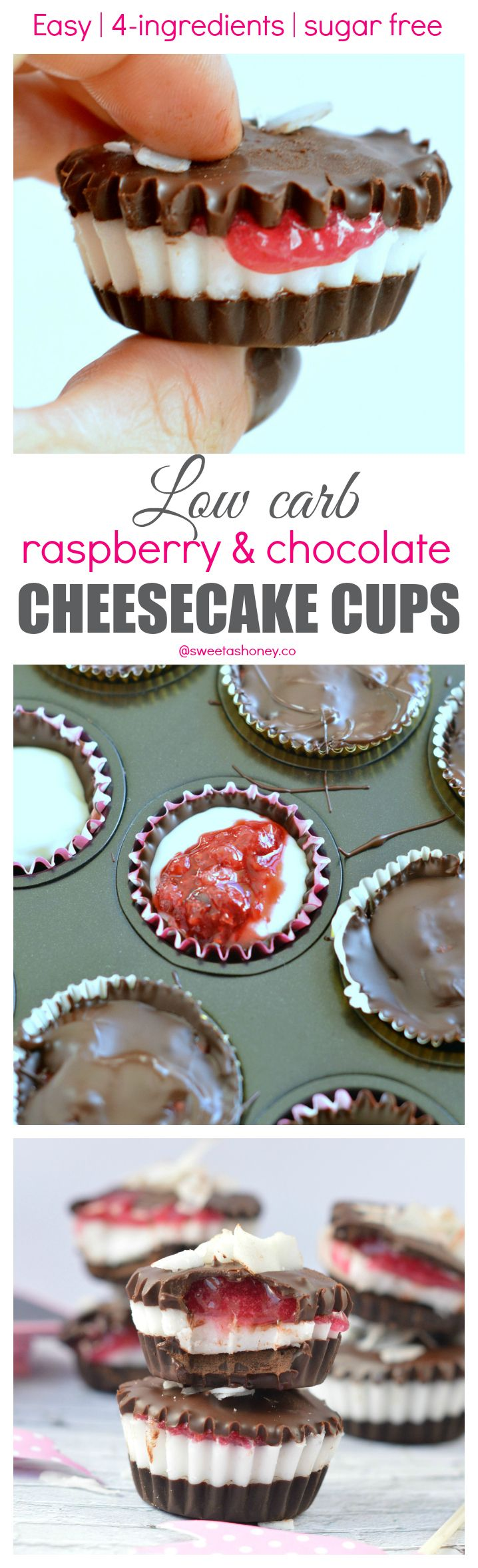 Low Carb Chocolate Cheesecake Cups with Sugar free Raspberry Jam filling. A great treat for diabetic 100 % Sugar free.
