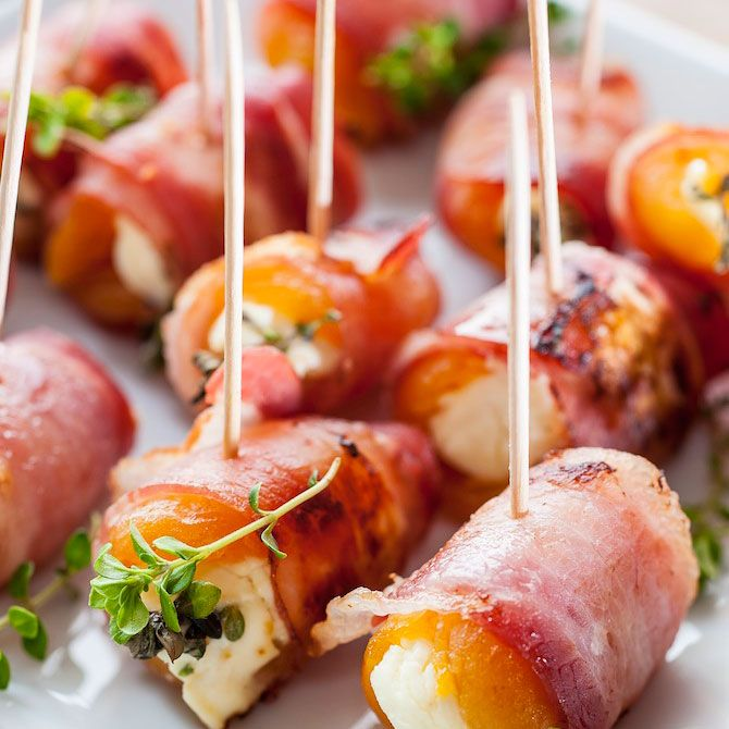 apricots stuffed with cream cheese wrapped in pancetta (bacon maybe?)