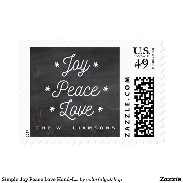 """Simple Joy Peace Love Hand-Lettered Holiday Postage Celebrate the true meaning of the Holidays with this """"Joy Peace Love"""" stamp highlighted with small snowflakes and a chalkboard background. Customize with your name or text. Perfect for Christmas letters and everyday correspondence."""