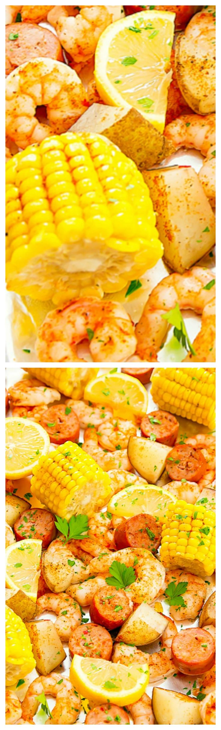 Foil Sheet Pan Oven Shrimp Boil ~ Everything is made on one sheet pan for an easy meal with minimal clean-up!