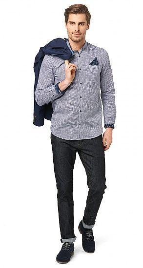 gemustertes Hemd für Männer (gemustert, langärmlig mit Button-Down Kragen und Knopfleiste zu schließen) - TOM TAILOR