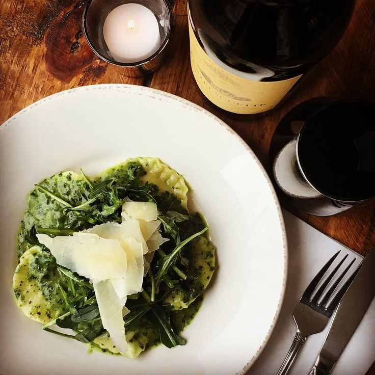 Tonight's Special: Organic Kale and Arugula Pesto Ravioli - House made raviolis using organic flour stuffed with ricotta organic spinach mushrooms and shallots served with a pesto made with organic kale and arugula garlic @sartoricheese Parmesan and organic butter. The Chateau Cantelaudette our full bodied merlot from Graves de Vayres Bordeaux would be a proper pairing for this delicious ravioli that is blasting with flavor... #ravioli #handmadepasta #organic #ryeny #westchester #lohud