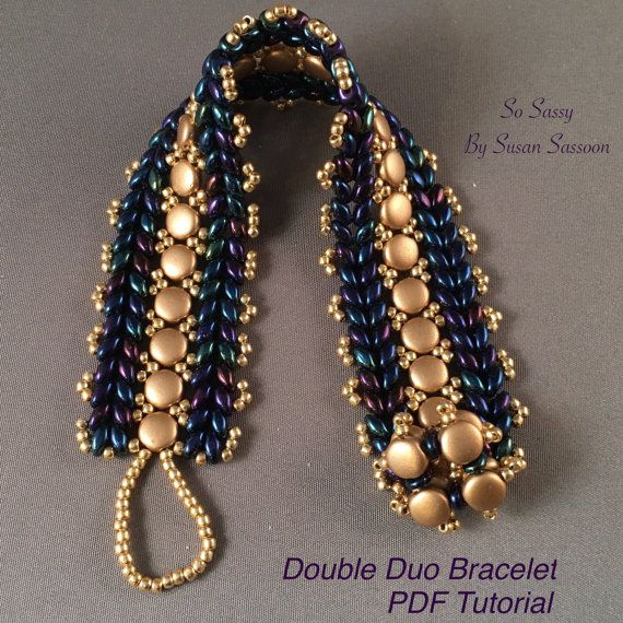 Designer's Note: Feel free to sell what you make with this pattern, but please do not copy, share or teach this pattern without my written permission. Description: Use SuperDuo beads and DiscDuo beads to create a strikingly beautiful bracelet. Level: Advanced Beginner Techniques: