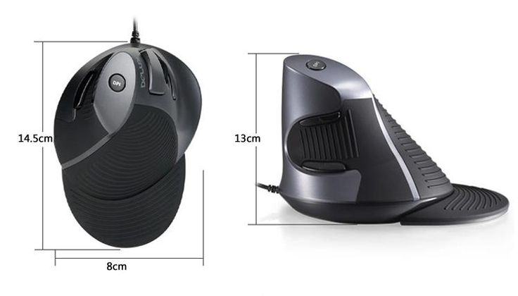DELUX/Colorful M618 Wired Vertical Holding Healthy Anti-mouse Hand Mouse For Macbook PC Laptop