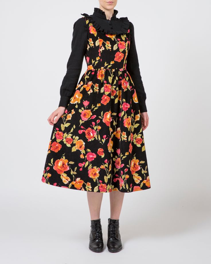 Plume Clothing. Agatha Dress in Floral Cotton Corudroy. Handmade in Melbourne.