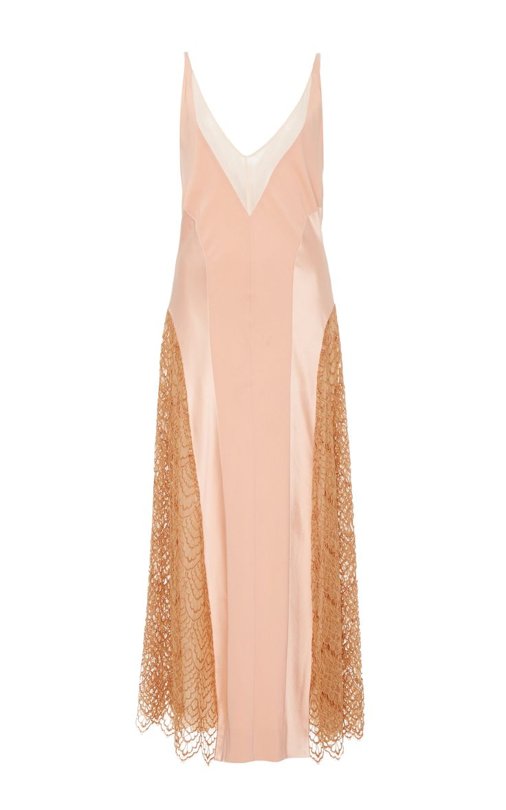 Lace Inset Metallic Seamed Slip Dress by WES GORDON for Preorder on Moda Operandi