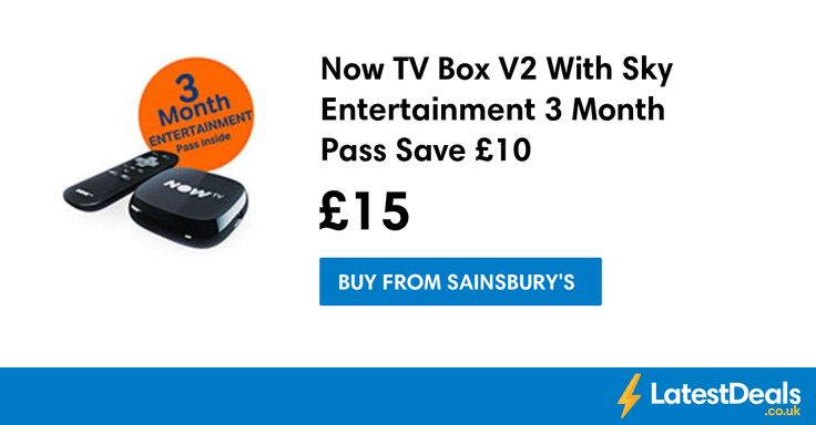 Now TV Box V2 With Sky Entertainment 3 Month Pass Save £10, £15 at Sainsbury's