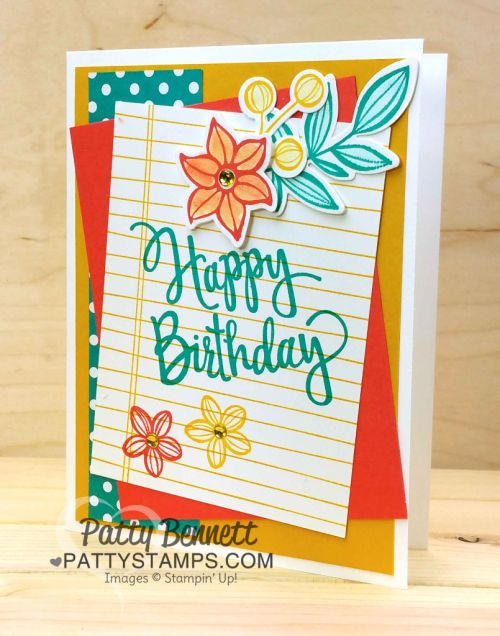 Birthday card idea featuring Stampin' Up! Falling Flowers stamp set and Writing Notes background stamp.