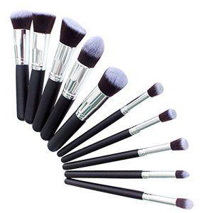 BlueCookies Kit De Pinceau Maquillage Professionnel 10PCS Noir Eyebrow Shadow Blush Fond De Teint Anti-Cerne