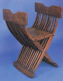 Folding chair without a backrest and with 12 legs at each side. Beech, end of 15th century Image from Le Mobilier Francais du Moyen Age a la Renaissance by J. Boccador.