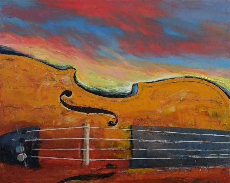"""cool VIOLIN 16x20"""" Oil Painting Impressionism Sunset Landscape Original Art M.Creese   Check more at http://harmonisproduction.com/violin-16x20-oil-painting-impressionism-sunset-landscape-original-art-m-creese/"""