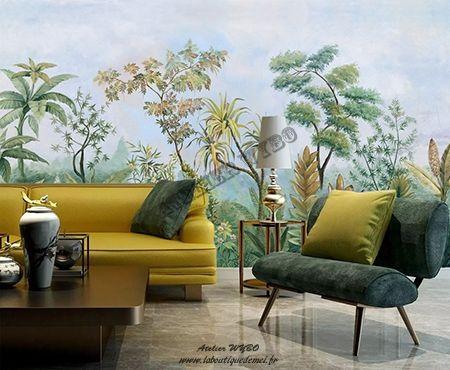 Paysage Tropical Grand Panoramique Arbres Plantes