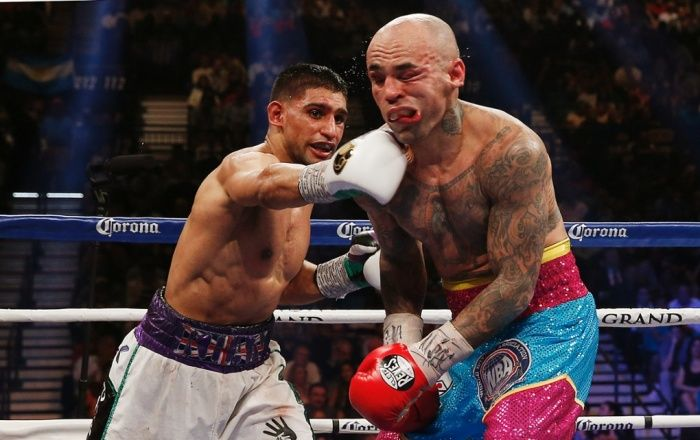 3 May: Luis Collazo is caught good and proper by Amir Khan during their WBA International Welterweight Title fight at MGM Grand Garden Arena in Las Vegas