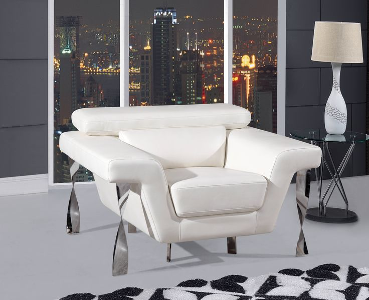 Series Blanche White Leather Gel Chair By Global Furniture