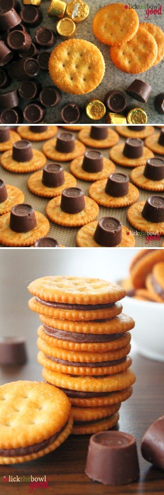 Rolo Stuffed Ritz Crackers | Sweet Foodz