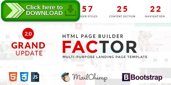 [ThemeForest]Free nulled download Factor - Multipurpose Landing Page Template With Page Builder from http://zippyfile.download/f.php?id=11408 Tags: agency site, app landing, Business landing, html builder, landing page builder, landing page bunch, landing page constructor, landing page kit, Landing page set, landing pages pack, multipurpose, multipurpose landing, page builder, real-estate landing, service landing