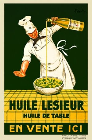 Huile Lesieur by Cappiello 1930 France - Beautiful Vintage Poster Reproductions. This vertical french poster features a chef pouring oil on a salad set on a yellow table with a green background. Giclee advertising print. Classic Posters