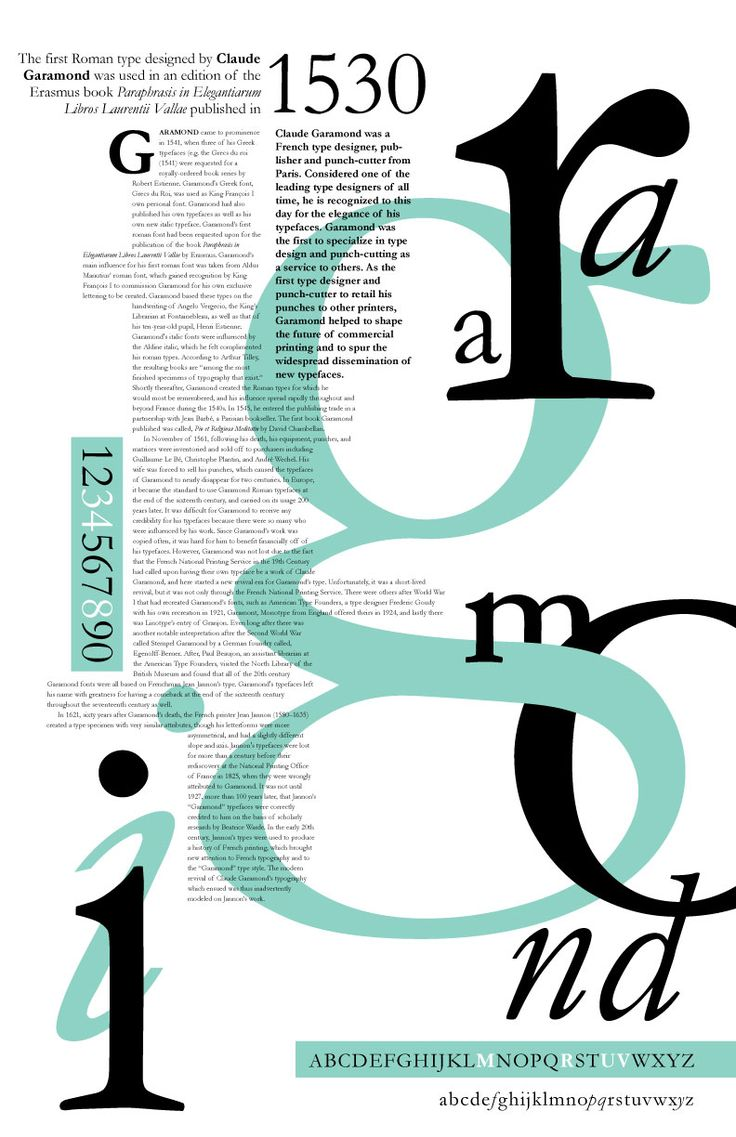 """A poster explaining the history of the Garamond typeface. I like the colors used as well as the scrambling of the word """"Garamond"""""""