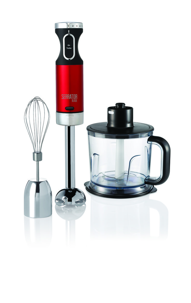Accents Red Hand Blender Set with Serrator Blade  http://www.morphyrichards.co.za/products/red-accent-stick-bender-402010